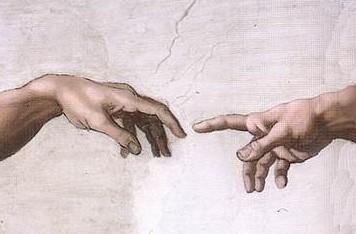 Michel-Ange, La création-d'Adam. Particuliers des mains de Dieu et d'Adam.